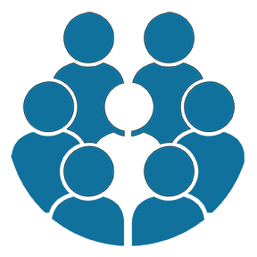 icon of six people surrounding a person in the middle who is different than the others
