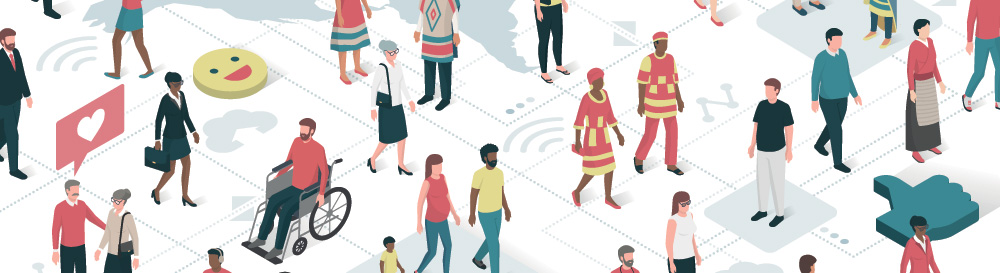 illustration of people from arorund the world gathering